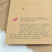 Butterflies and bees recycled seed packet back