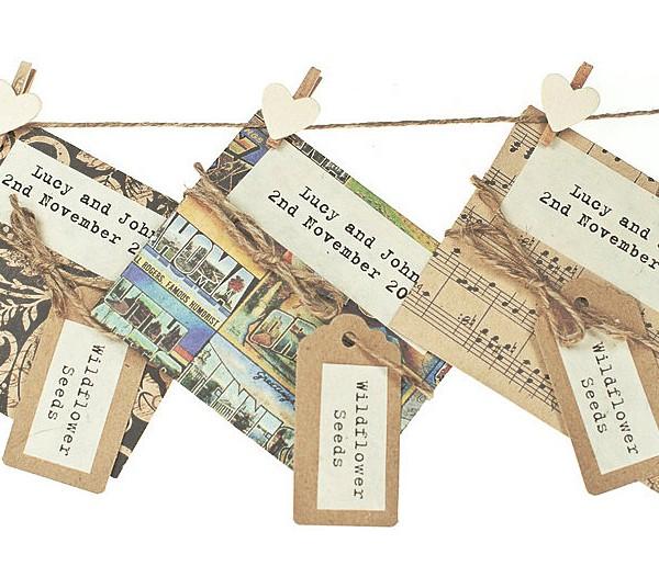 Handmade wildflower seed packet, dark colours