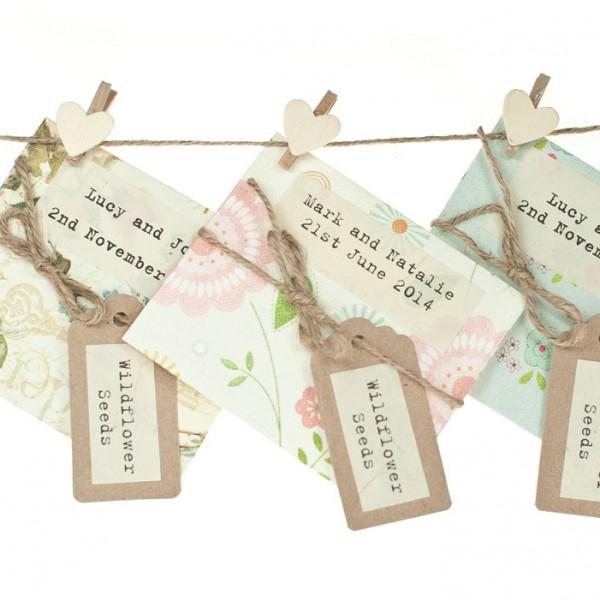 Handmade wildflower seed packet, light colours