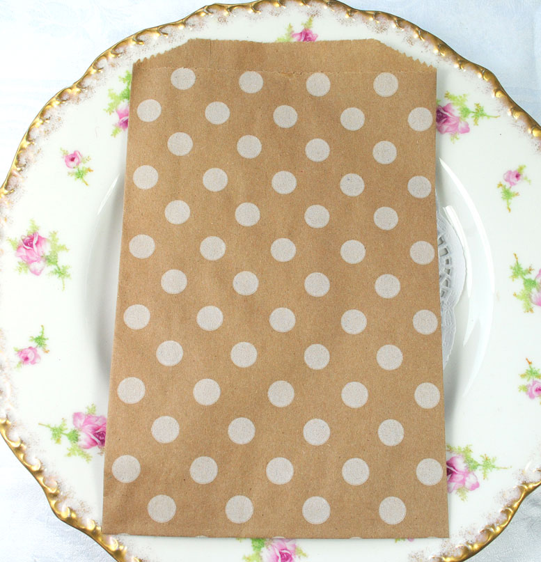 Kraft dotty wedding favour bags, spot favour and gift bags