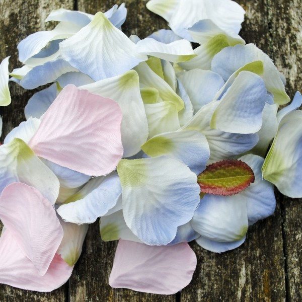 Lilac and white fabric petals