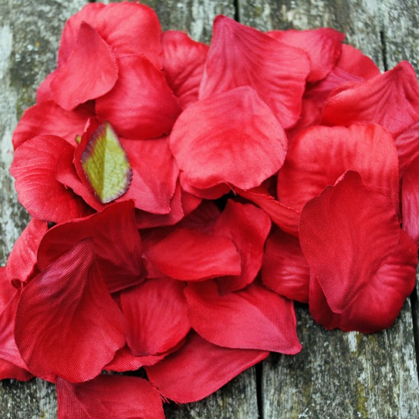 Red fabric petals