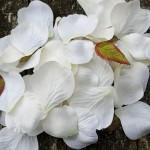 White fabric petals