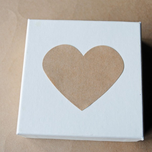 Recycled Kraft heart stickers