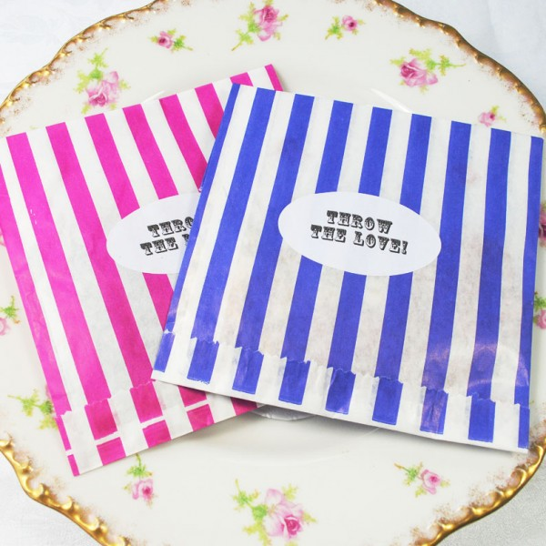 Candy-striped wedding favour bags