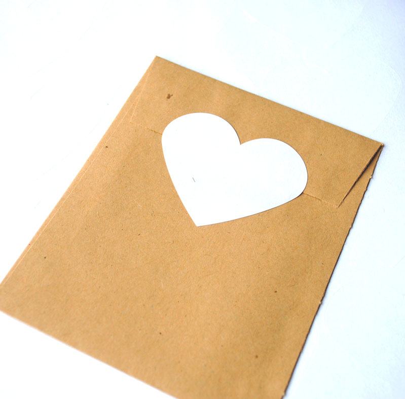 White recycled heart stickers