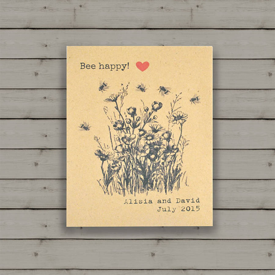 Bee Happy wildflower seeds wedding favour