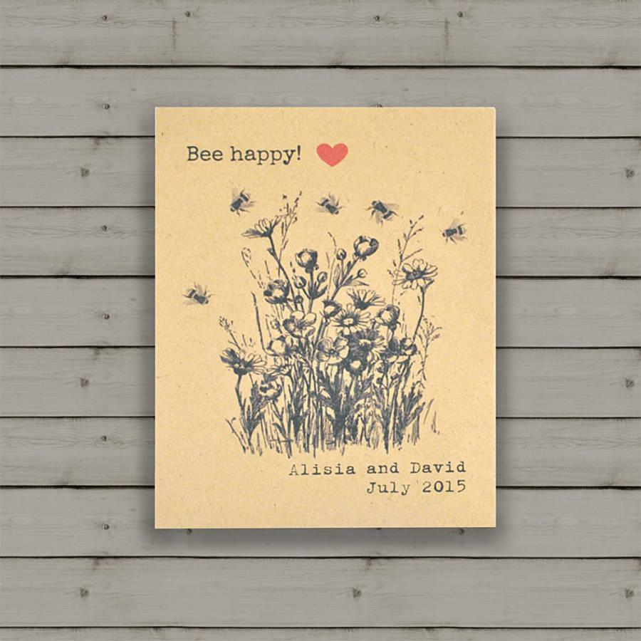 Bee Happy wildflower seeds wedding favour