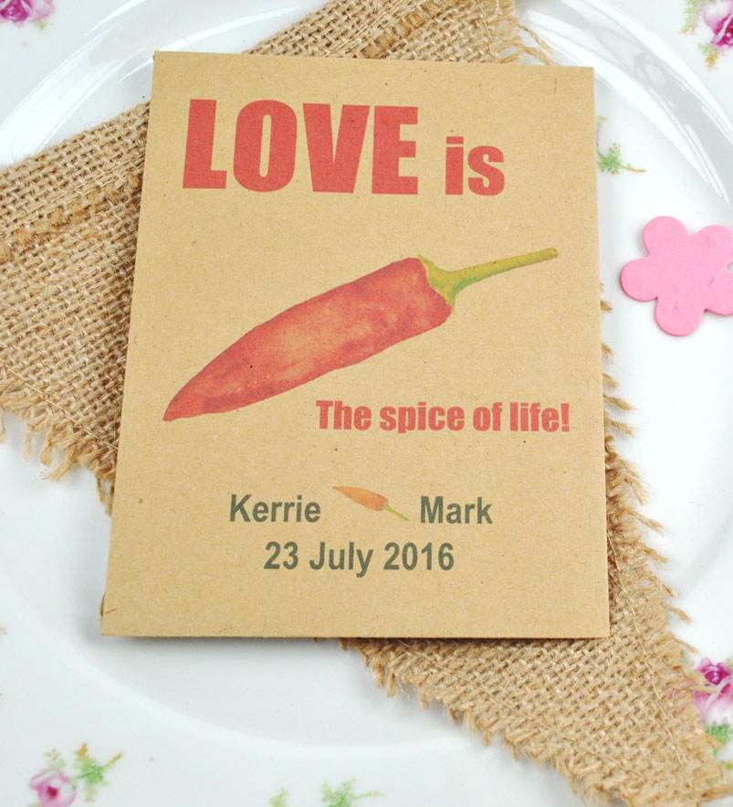 Chilli seeds recycled wedding favour