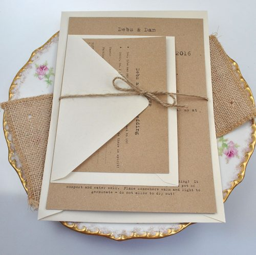 Recycled Kraft card and plantable seed paper wedding invite set