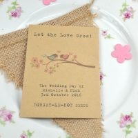 Birds on branch recycled seed packet wedding favour