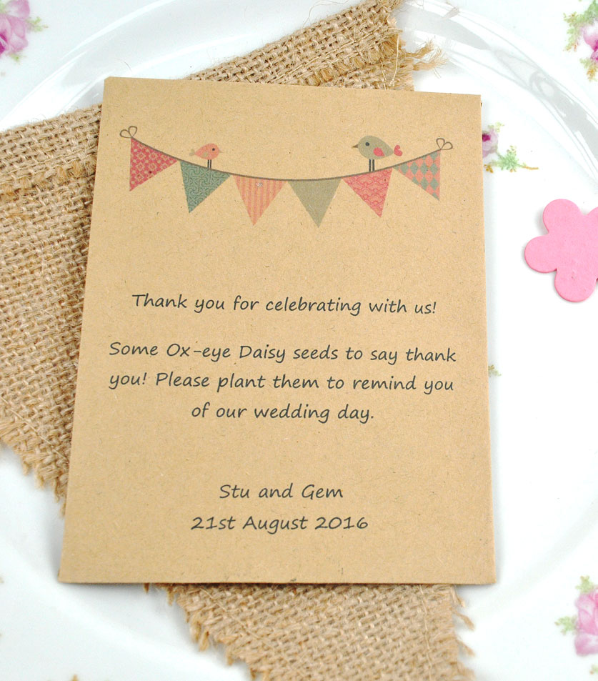 Birds on bunting recycled seed packet wedding favour