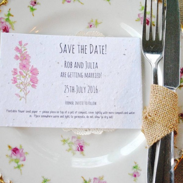 Seed poaper save the date card, blossom design