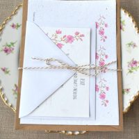 Blossom seed paper wedding invitation set