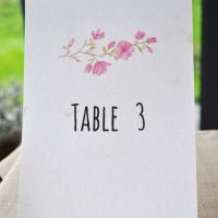 Recycled table name card, wedding, blossom design
