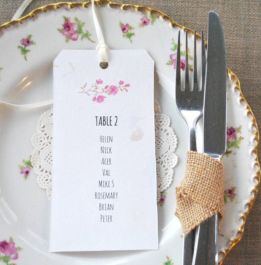 Wedding table plan | Table plan tag | Recycled table plan