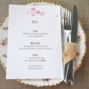 Recycled menu card, blossom range