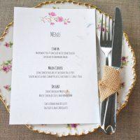 Recycled menu card, blossom range