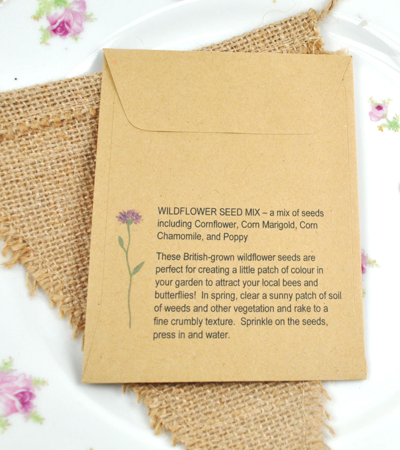 Recycled Wildflower Seed Packet Wedding Favour | Wedding