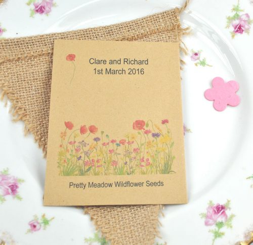 Recycled wildflower seed packet wedding favour