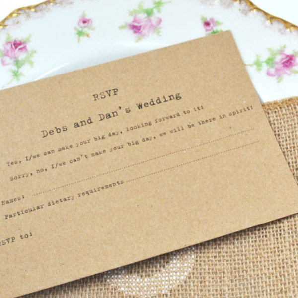 RSVP Kraft recycled invite set