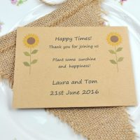 Recycled sunflower seed packet wedding favour