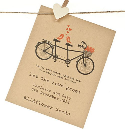 Birds on Tandem recycled seed packet wedding favour