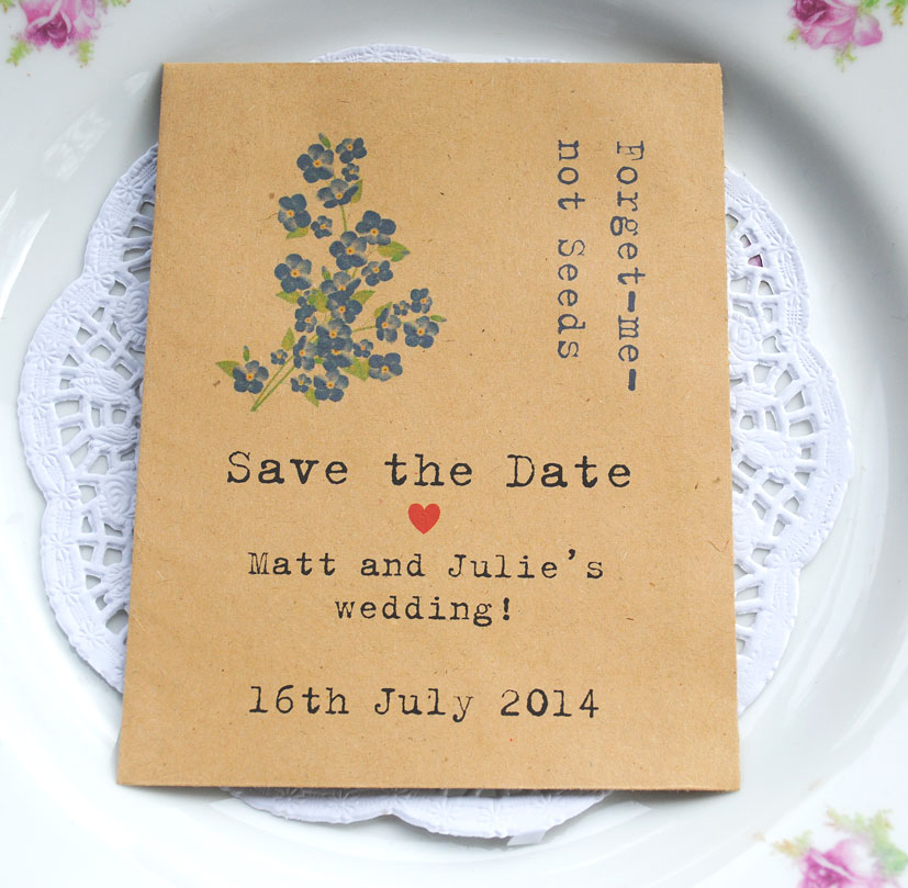 10 Forget Me Not Seed Packet Favours By Wedding In A: Recycled Seed Packet