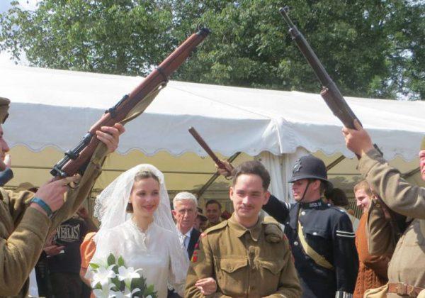 Wartime wedding bride and groom