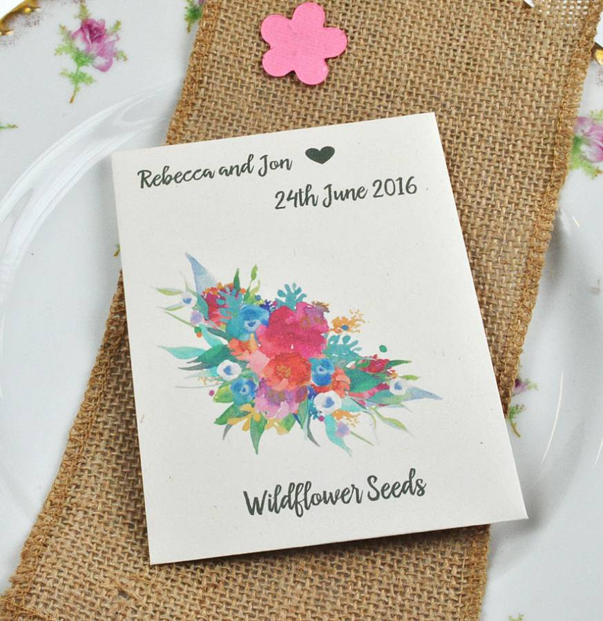 Floral wedding favour recycled seed packet