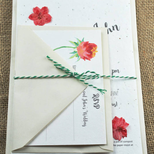 Seed paper wedding invite set