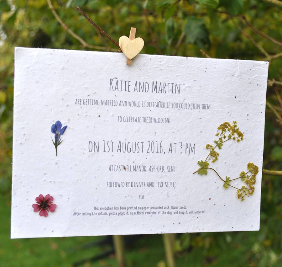 Pressed Flower Recycled Seed Packet Wedding Favour Wedding Favour