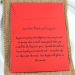 Red wedding favour Poppy seeds sowing instructions