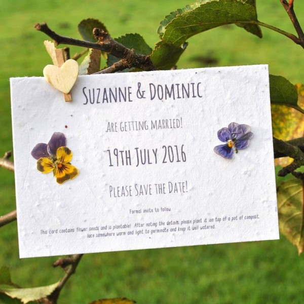 Seed paper save the date with pressed flowers