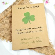 Shamrock seed packet wedding favour