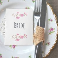 Recycled place setting and wedding favour, personalised with guest name