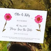 Seed paper Save the Date with pressed flwoers