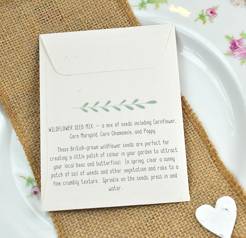 """Flower Seed Wedding Favours: Creative & Unique """"Sow In Love"""" Seed Packet Wedding Favour"""