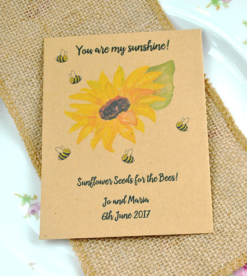 You are my sunshine seed packet wedding favour