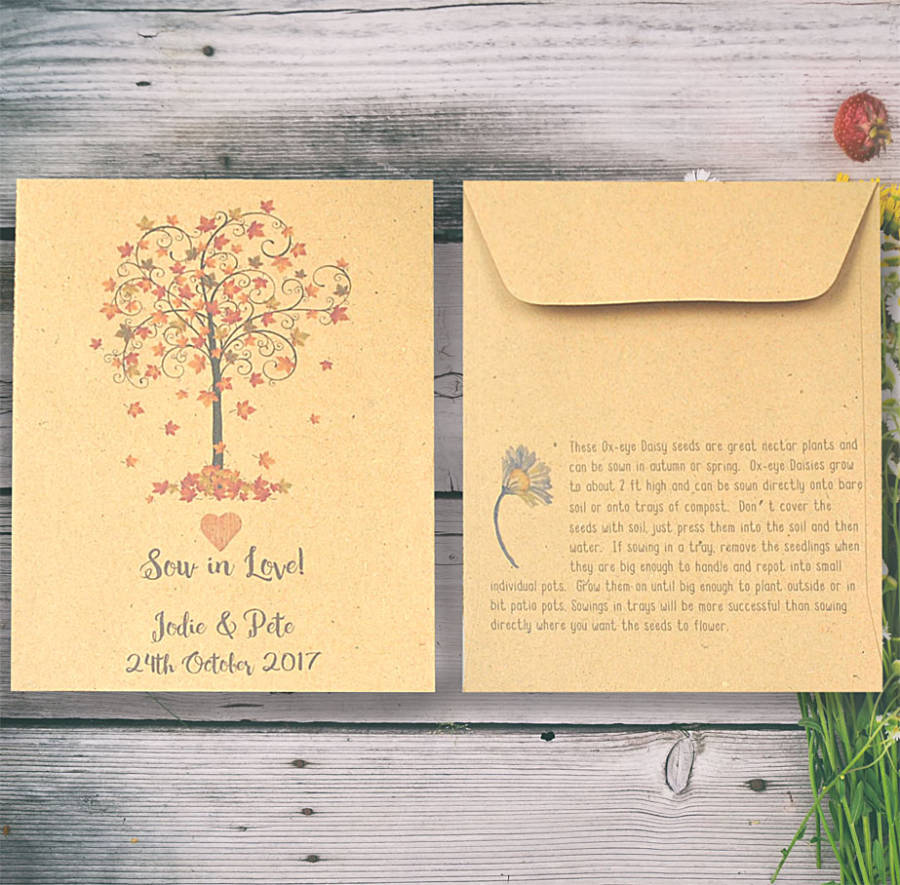 Autumn wedding favour seed packet