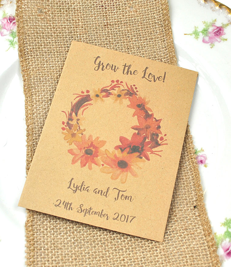 Autumn seed packet wedding favour