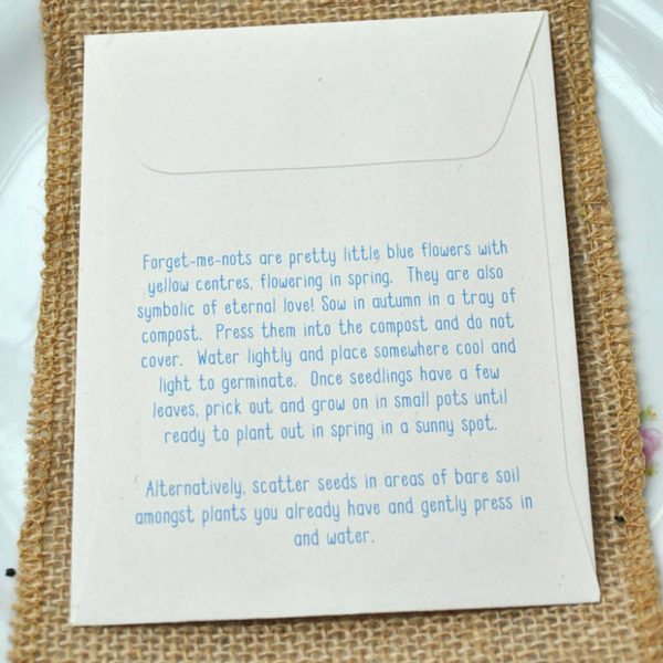Sowing instrucitons Forget-me-not seed packet