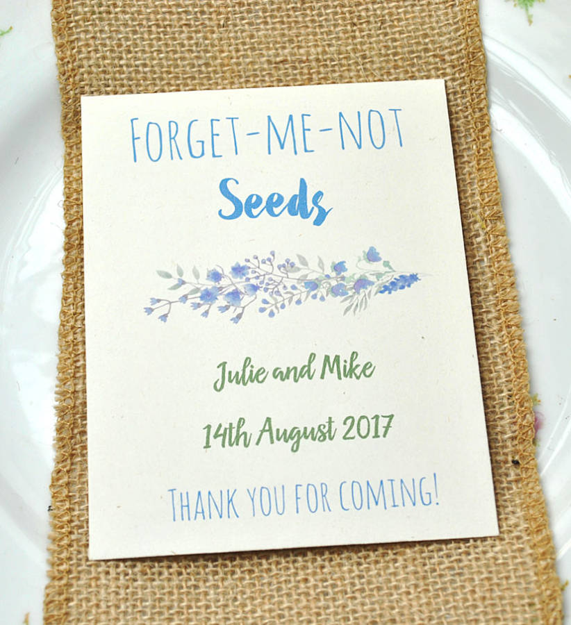 Forget-me-not wewdding favour seed packet