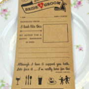 Wedding advice cards - leave a note for the bride and groom. Great wedding day fun!