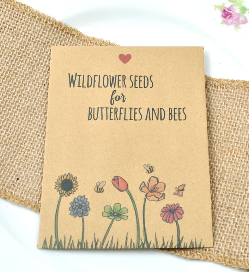 Butterfly and bee seeds wedding favour