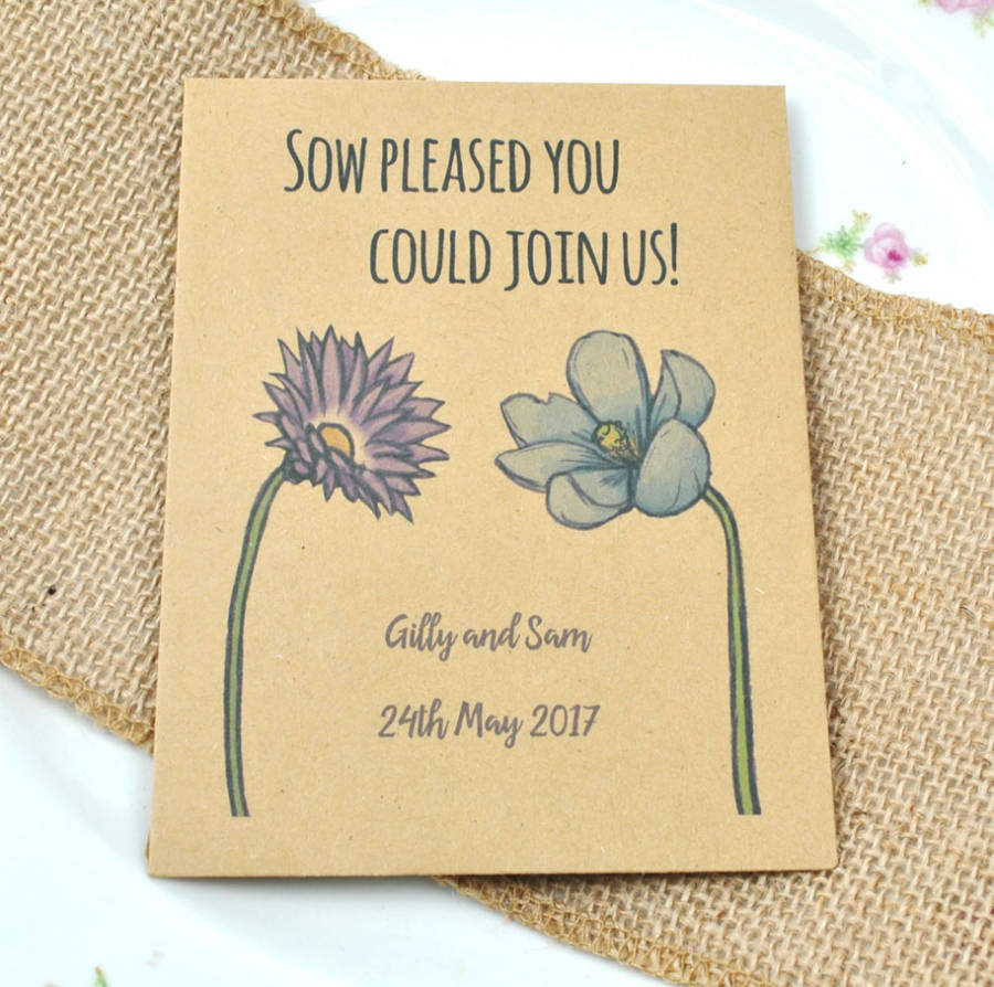 Sow pleased You Could Join Us seed packet wedding favour idea