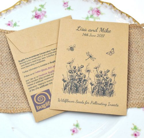 Buglife charity wedding favour seed packet containing British wildflower seeds for butterflies and bees