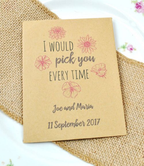 I would pick you every time - recycled seed packet wedding favour idea