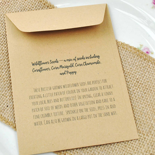I would pick you every time - recycled seed packet wedding favour sowing instructions.