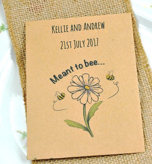 Meant to bee seed packet favour, personalised with your wedding details. Contains wildflower seeds for bees.